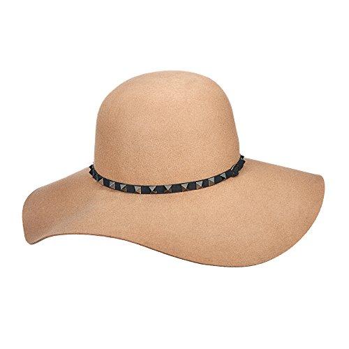 BROOKLYN HAT CO. BILLY JACK STUDDED TAUPE QUALITY WOOL FELT FLOPPY HAT(BKN1428) (Wool Studded Hat)