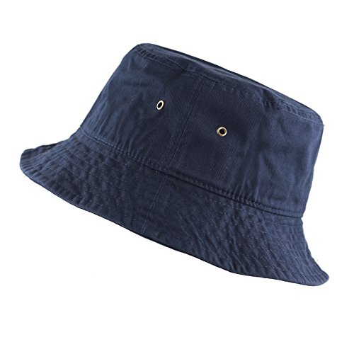 THE HAT DEPOT Youth Kids Washed Cotton Packable Bucket Travel Hat Cap (7-10yrs, Navy)]()