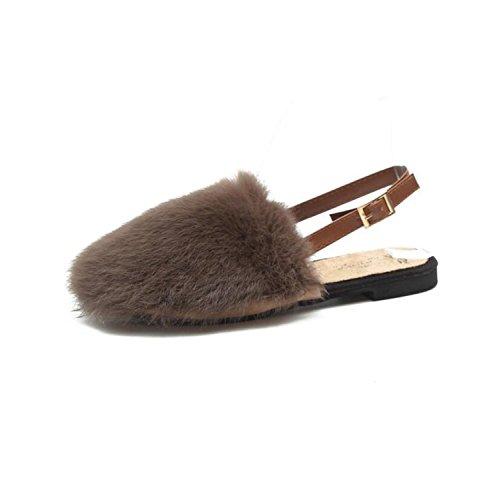 Comfort DANDANJIE amp; Heel Zapatos Green Flops Mujer Flip Invierno caseros de Flat Khaki Slippers Zapatos de Caqui otoño Black Zapatos tqrRt