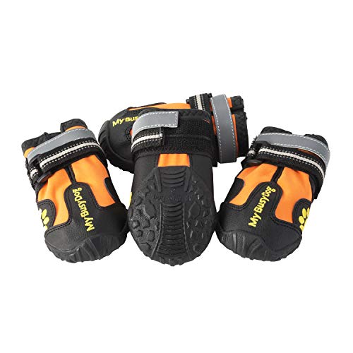 My Busy Dog Water Resistant Dog Shoes with Two Reflective Fastening Straps and Rugged Anti-Slip Sole | Dog Boots Perfect for Small Medium Large Dogs | Size Chart in Pictures (Size 7, Orange)