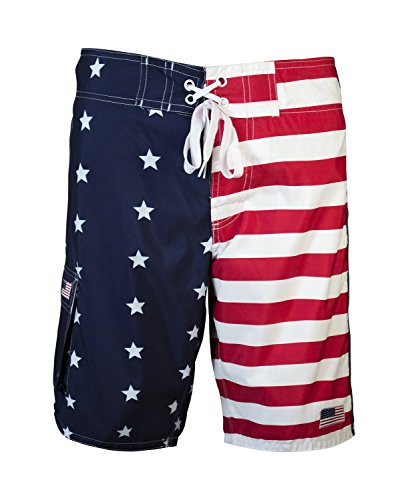 Men's American Flag Inspired Board Shorts Large Red White and Blue