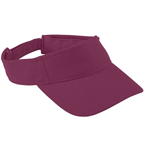 Augusta Activewear Adjustable Wicking Mesh Visor - Youth, Maroon, One Size ()