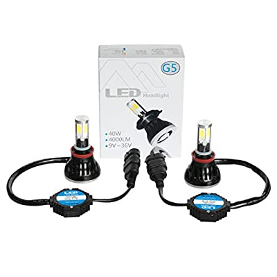 G5 LED Headlight H8 H9 H11 w/ 80W 8000LM Xenon White Super Bright by HIDNY: Automotive