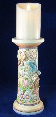 "Jim Shore Spring Themed Luminara Wax Candle LED Battery Operated 5""h X 3-1/2""diameter Disney Imagineering"