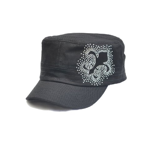 Fleur De Lis Rhinestone Flattop Vintage Visor Cadet Hat cap E