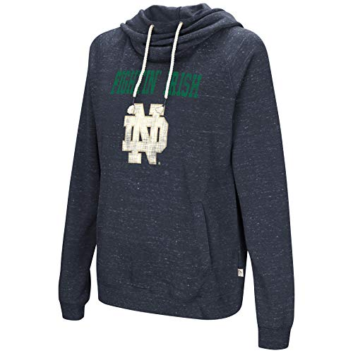 Colosseum NCAA Women's-I'll Go with You-Cowl Neck Hoody Sweatshirt-Team Color and Distressed Vintage Logo-Notre Dame Fighting Irish- - Ncaa Womens Hoody