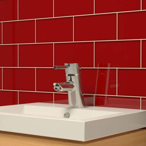 Giorbello Glass Subway Backsplash Tile, 3 x 6, Ruby Red, Sample Tile (1 Piece) (Red Tile)
