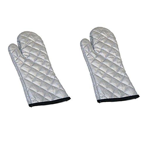 1 Paar Aluminium Kochhandschuh Grillhandschuh Ofenhandschuh Backhandschuh Topfhandschuh Küchenhandschuh 36cm