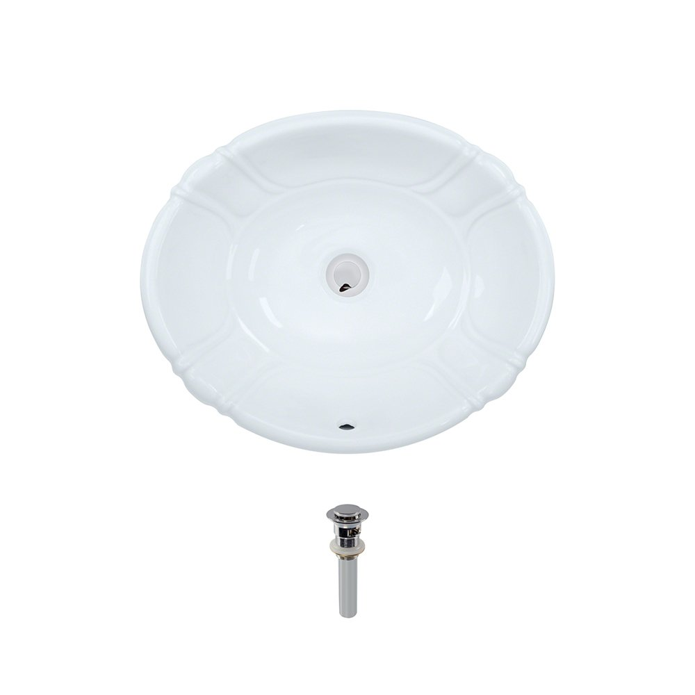 O1815-White Overmount Porcelain Bathroom Sink Ensemble, Chrome Pop-Up Drain by MR Direct