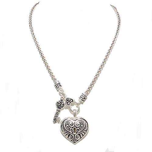 (Affordable Wedding Jewelry Uniklook Women Silver Wheat Chain Front Design Toggle Closure Heart Key Charm Necklace)