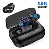 Wireless Earbuds Bluetooth 5.0 True Wireless Earbuds Touch Control Waterproof IPX5 TWS in-Ear Bluetooth Headphone Built-in Mic CVC 8.0 Stereo Headsets for Sport Gym Workout [LED Display,126H Playtime 3000mAh Charging Case]