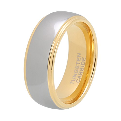 iTungsten 6mm 8mm Gold Tungsten Rings for Men Women Wedding Bands Domed Stepped Edges Comfort Fit