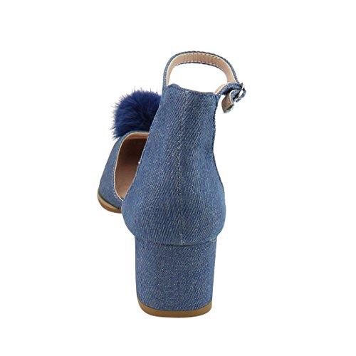 BESTON DE26 Womens Pom Pom Pointy Heels Dress Pumps Denim M8Rg6wx6B