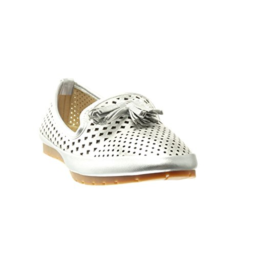 Women's cm Fashion Fringe Flat 2 Angkorly Silver Shoes Slip Perforated Mocassins Pom Heel Pom on dpg4qO