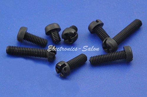 Electronics-Salon 50pcs M4x10mm Black Nylon Phillips//Slot Pan Header Screw.