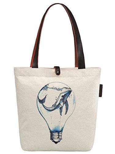 So'each Women's Dolphin Art Illustration Canvas Handbag Tote Shoulder Bag