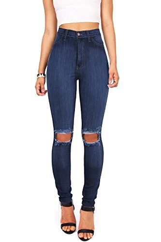 Vibrant Women's Juniors Faded Ripped Knee High Waist Skinny Jeans (13, Dark Denim)