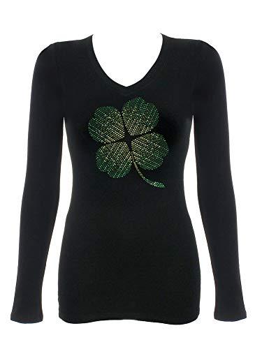 - DivaDesigns 4-Leaf Shamrock Clover Rhinestone Bling V-Neck T-Shirts 264 Large