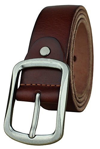 Heepliday Men's Soft Genuine Leather Belt Small 30-32 Silver Buckle Red Brown Leather - Brown Leather Belt Silver Buckle