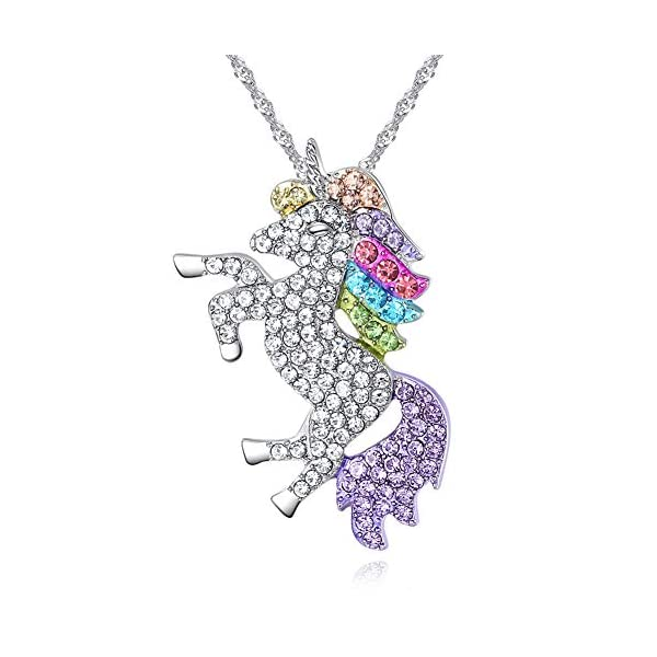 4MEMORYS Rainbow Unicorn Jewelry Set Including Pendant Necklace, Bracelet Rhinestone Crystal Rhodium Plated Women Girls… 4