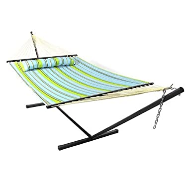 Sunnydaze 2 Person Freestanding Quilted Fabric Spreader Bar Hammock with Stand—Includes Detachable Pillow, 350 Pound Capacity, Blue and Green