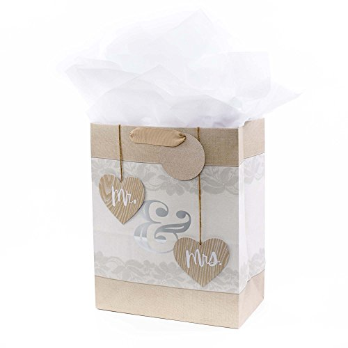 Hallmark Large Gift Bag with Tissue Paper for Weddings, Bridal Showers, Engagements and More (Mr. & Mrs. Hearts)