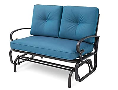 Incbruce Outdoor Swing Glider Rocking Chair Patio Bench for 2 Person, Garden Loveseat Seating Patio Wrought Iron Chair Set W/Cushion, Peacock Blue
