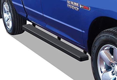 APS iBoard Running Boards (Nerf Bars | Side Steps | Step Bars) for 2009-2018 Dodge Ram 1500 Quad Cab Pickup 4-Door | (Black Powder Coated 4 inches) ()