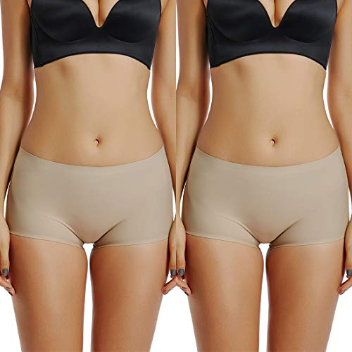 (Women's Low Rise Boxer Briefs Seamless Nylon Spandex Hipster Boyshort Panties No Show Panty 2 Pack Beige)