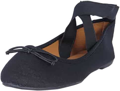 5d3075b19b689 Epic Step Women's Classic Ballet Flats With Elastic Cross Ankle Straps