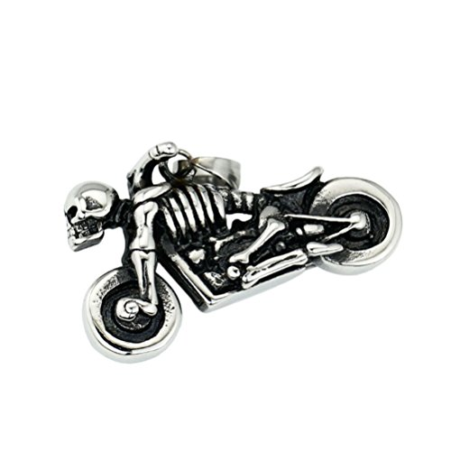 BlueTop Men's Stainless Steel Motorcycle Biker Skull Rider Gothic Punk Retro Pendant Necklace -with 22Inch Chain