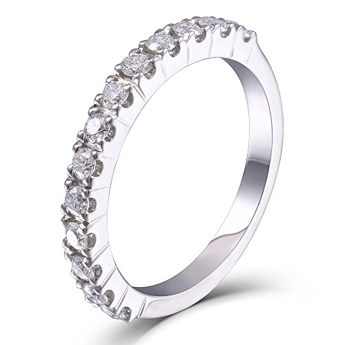 DovEggs 0.4CTW HI 2.26mm Width Moissanite Lab Created Diamond Half Eternity Wedding Band 925 Silver for Women (7)