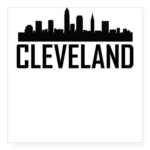 CafePress Skyline of Cleveland OH Sticker Square Bumper Sticker Car Decal, 3