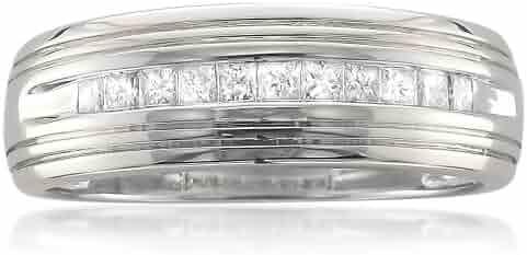14k White Gold Princess-cut Diamond Men's Wedding Band Ring (1/2 cttw, H-I, I1)
