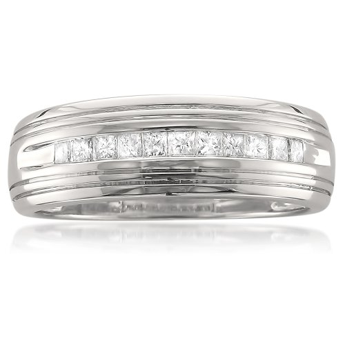 La4ve Diamonds Platinum Princess-Cut Diamond Men's Wedding Band Ring (1/2 cttw, H-I, VS1-VS2), Size 12