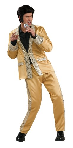 Adult China Man Costumes (Elvis Deluxe Gold Costume, Gold, X-Large)