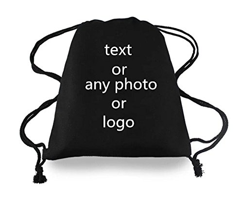 Leecum Customized Products-Add Your Design on the Backpack Drawstring Bag Canvas Leisure Sports Rucksack Black or White Suitable for Travel School Office Shopping Malls and Other Outdoor Places]()