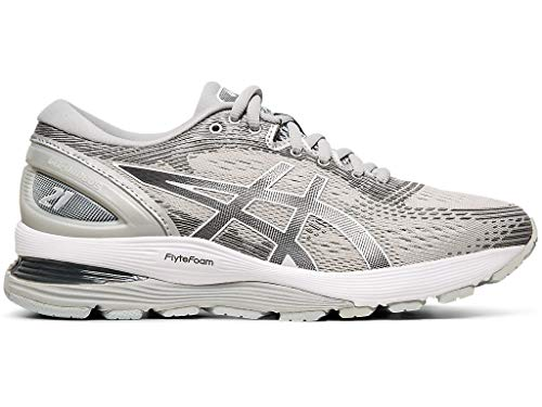 ASICS Women's Gel-Nimbus 21 Running Shoes, 7.5M, MID Grey/Silver