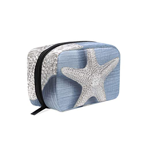 Large Starfish Pewter Cupboard Pull Makeup Bag Organizer Portable Cosmetic Pouch Handbag With Zipper For Women Purse (Pewter Cupboard)