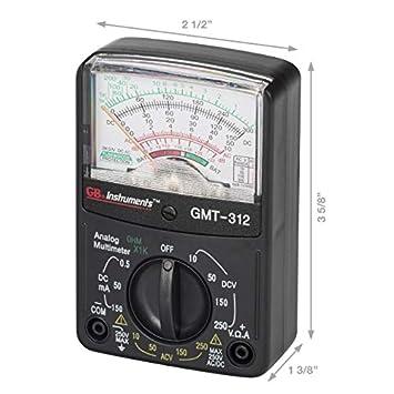 Gardner Bender GMT-312 Analog Multimeter, 5 Function 12 Range, 300V AC DC, for AC DC Voltage Current, Resistance, Continuity Batteries