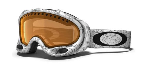 Oakley Unisex-Adult A Frame Snow Goggle (White Factory Text, Persimmon), Outdoor Stuffs