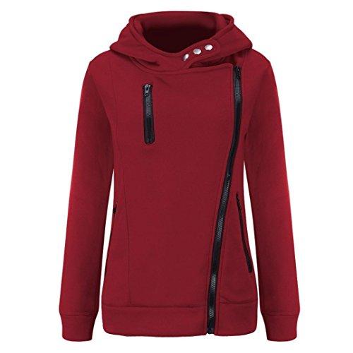 LHWY-Tops Women Long Sleeve Velvet Thickened Hooded Sweater Zipper Trench Coat Slim Coat Suit Winter Jacket Outwear Wine Red