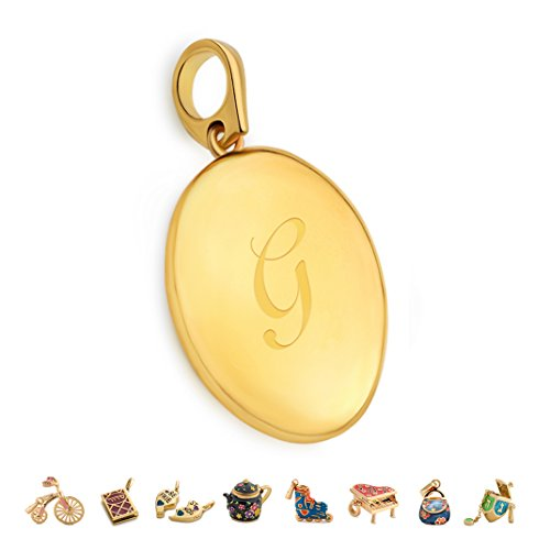 CHARMULET 14k Plated Gold Oval Initial Locket Letter G - Compatible With Charm Bracelet By Charmulet - Gift Box Included … (14k Locket Bracelet)