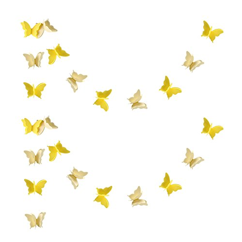 Zilue Butterfly Banner Decorative Paper Garland for Wedding, Baby Shower, Birthday & Theme Decor 110 Inches Long Set of 2 Pieces Yellow ()