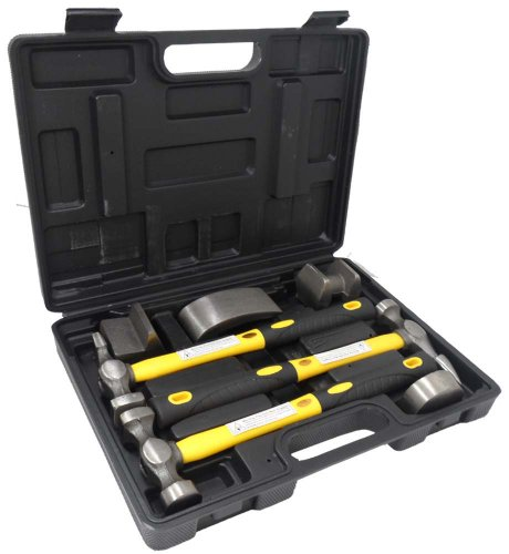 (7 Pc Hammer & Dolly Auto Body Dent Repair Kit)