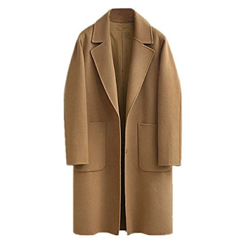 JIANLANPTT Spring Winter Classic Simple Women Oversized Cashmere Blend Coat Casual Overcoat Camel XL=US M