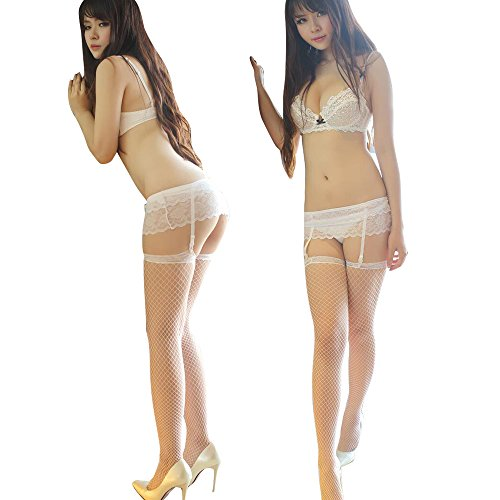 Gofypel Sexy Lycra Fishnet Stockings Lace Panties Thigh-Highs Stockings with Garter Belt Suspender Set G-String +Lace High Pantyhose(2pcs) (White)