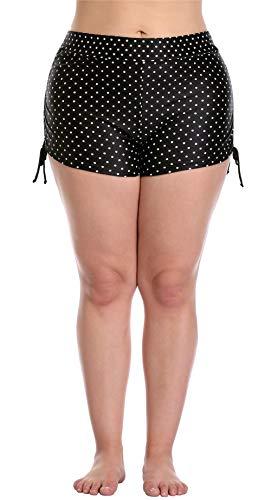 ize Swim Bottom Boyleg Polka Dot Swim Board Shorts Black 1X ()