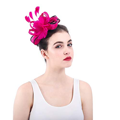 Liweibao Fascinators Hat for Women Women Fascinator Hat Pillbox Bowler Hat Costume Wedding Derby Tea Party Cocktail Hat Hair Clip Headwear Accessory Derby Wedding Cocktail Flower Mesh Feathers Hair -
