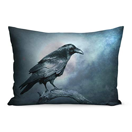 Semtomn Throw Pillow Covers Black Raven in Moonlight Perched on Tree Scary Creepy Gothic Setting Cloudy Night Halloween Pillow Case Cushion Cover Lumbar Pillowcase for Couch Sofa 20 x 30 inchs ()